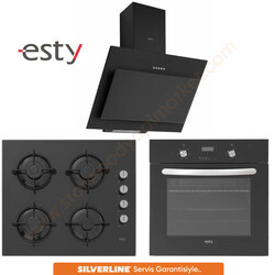 Esty - Esty Siyah Ankastre Set 3 (3460 Davlumbaz + ACO5335B01 Ocak + AEF6247B01 Fırın)