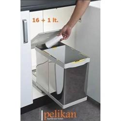 Pelikan - Pelikan Raylı Otomatik Paslanmaz Çöp Kovası 16+1Lt Açık Gri